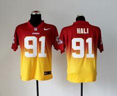 Men's Nike NFL Kansas City Chiefs #91 Tamba Hali Red Yellow Drift Fashion II Elite Jerseys