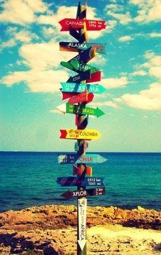 De wereld op een wegwijs-paal. Droom om te reizen