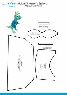 Moldes de Dinossauros 3D em feltro Baixar moldes de feltro feltro de dinossauros 3d para artesanato