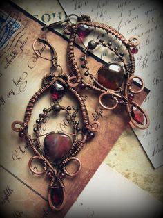 Gorgeous Statement Earrings  (Oxidized copper wire with garnet and agate, ooak, wire wrapped, long earrings,deep wine red, baroque, gothic,. $42,00, via Etsy.