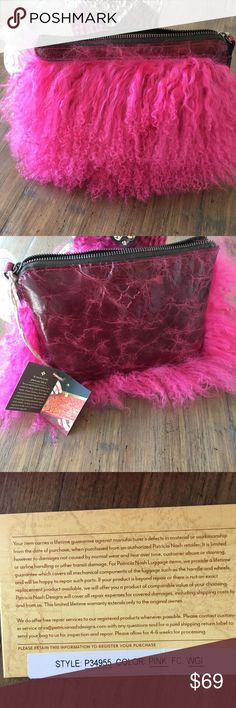 "Patricia Nash Cassini Fur Wristlet - Pink Brand: Patricia Nash Color: Hot Pink Hardware: Antique Brass Size: 9""W x 6-3/4""H x 1/2""D; 5"" Long Strap Features: Zip closure; Interior: 1 zip pocket and 2 slip pockets Condition: New With Tags (NWT) Patricia Nash Bags Clutches & Wristlets"