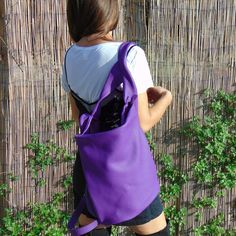 Leather backpack in purple ,slouchy bag, everyday womens bag ,named Laoura ,made to order. by iyiamihandbags on Etsy