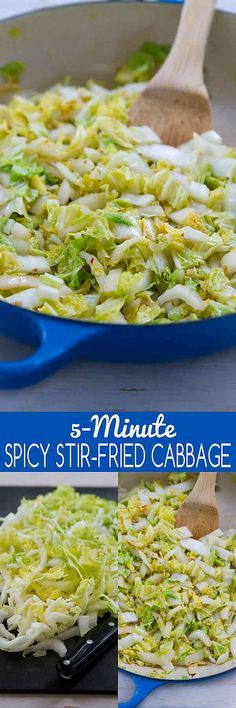 When you need a quick side dish, this 5-minute Spicy Stir-Fried Cabbage does the trick! 54 calories and 1 Weight Watchers SmartPoint