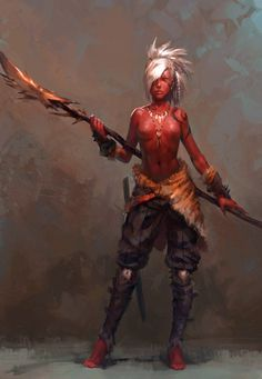 The use of red skin adds the elemental effect to this drawing, making her look…