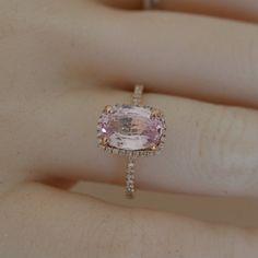 CERTIFIED  3.03 carat Padparadscha, Rose gold, diamonds halo engagement ring  JOAN-908p