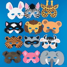 Set of 12 foam animal masks. Each masks measures from - 10 and has an elastic band. These make great favors at any safari, zoo or animal theme party. More can be purchased through the link below. Giraffe Costume, Party Animals, Animal Party, Safari Birthday Party, Animal Birthday, Birthday Parties, Animal Face Mask, Animal Masks, Sunday School