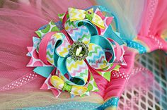 Pastel Rainbow PInk, Green, Blue, Yellow Chevron Bow. Custom Hair Bow. Stacked Boutique Bow. Layered Bow. Baby Bow Headband. Photo Prop Bow. on Etsy, $10.00