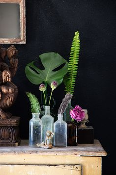A bold, dark background wall hue like this one really makes botanicals pop!