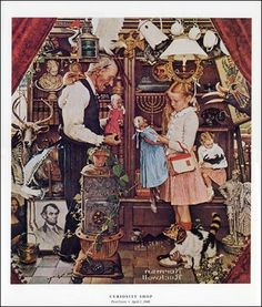 """THE CURIOSITY SHOP"""" by Norman Rockwell  The Saturday Evening Post Cover - April 3, 1948"""