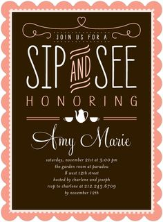 Coral Baby Shower Invitations - Sipping Room by Petite Alma | Tiny Prints