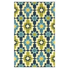 Hand-hooked indoor/outdoor rug, showcasing an eye-catching multicolor floral medallion motif. Area Rug | Mosaic | Bright Rugs | Non-traditional Area Rug
