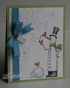 Snow Much Fun set along with the Northern Flurry Embossing Folder. The Shimmery White Card stock adds a nice sparkle and is so nice to watercolor on.     Stamps: Snow Much Fun & Tiny Tags  Card stock: Pear Pizzazz & Shimmery White   Ink: Black Stazon, Marina Mist & Pear Pizzazz  Accessories: Marina Mist Scallop Dots Ribbon, Mini Jingle Bells, Jewelry Tag Punch, Basic Rhinestones & Northern Flurry Embossing Folder