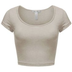 Luna Flower Women's Cute Basic Short Sleeve Scoopneck Cotton Crop Tops (€7,76) ❤ liked on Polyvore featuring tops, t-shirts, brown crop top, crop t shirt, cropped tops, short sleeve tops and scoop neck t shirt