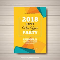 New year's party abstract poster in yellow and turquoise Free Vector Graphic Design Brochure, Graphic Design Posters, Word Template Design, Flyer Template, Instagram Feed Layout, Holi Wishes, Adobe Illustrator, Summer Poster, Calendar Design
