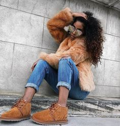 Textures are everything in this outfit  - from the jacket to the ripped jeans to the UGG Neumel Boots.