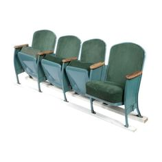 Image of Vintage Velvet Theater Seats in Forest Green Movie Theater Chairs, Cinema Chairs, Cinema Seats, Cinema Room, Theater Seating, Upcycled Furniture, Outdoor Furniture Sets, Contemporary Theatre