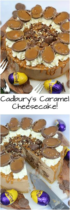 A No-Bake Cadbury& Caramel Cheesecake with a Buttery Biscuit Base, Chocolate Cheesecake filling with Cadburys Caramel Chunks, Whipped Cream, Caramel Drizzle, and Cadbury& Caramel Eggs! No Bake Desserts, Just Desserts, Delicious Desserts, Dessert Recipes, Yummy Food, Caramel Cheesecake, Chocolate Cheesecake, Cheesecake Recipes, Easter Cheesecake