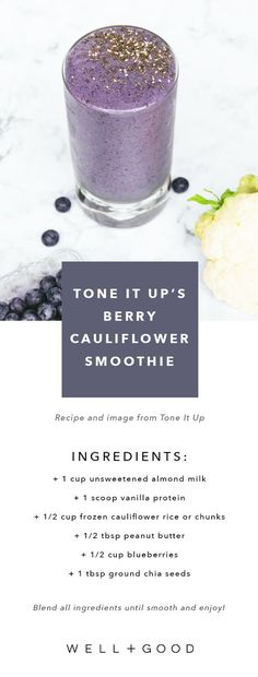 GIRLBOSS EATS: Tone It up's berry cauliflower smoothie recipe.