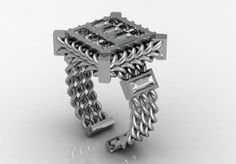 14k White Gold Luxurious and Modern Engagement or by VOLISA, $2750.00