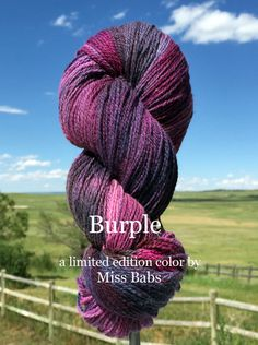 Tibetan Dream - Burple - Bijou Basin Ranch. One of 6 limited edition colorways dyed exclusively for Bijou Basin Ranch by Miss Babs Yarn!