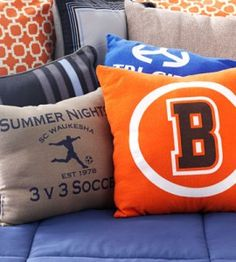 T-Shirt Pillows: Have a bigger kid headed off to college? Give them something to remember you by! Recycle old or outgrown T-shirts from sports teams, fun runs, clubs or music camps, by turning them into throw pillows. Bring a touch of home to dorm room decor!