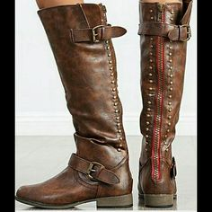 Bamboo Montage 83 Black Studded Knee-High Riding Boots   Shoes ...