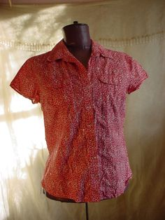 Red Snap Front Blouse Shirt size 6 by Style & co. Cotton India Short Sleeve #Styleco #Blouse #Casual