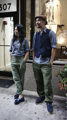 Engineered Garments I take it? Olive drab USN pants and indigos and chambrays! I think we will be seeing a lot of this combination this winter!