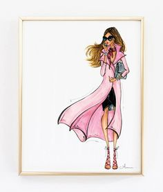 Fashion Illustration impression brise rose par anumt sur Etsy