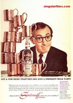 1966 Smirnoff Vodka Ad ~ Woody Allen & Mule Mugs, Vintage Beer & Liquor Ads Copper Moscow Mule Mugs, Copper Mugs, Mia Farrow, Woody Allen, American Apparel Pub, American Clothing, Smirnoff Mule, Celebrity Advertising, 1970s
