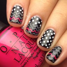 Nail art inspired by socks from target! Chevron and polka dots nails