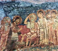 Otranto, St. Peter's Church -- Byzantine fresco dating to 10th c. CE, depicting the Washing of the Feet. Due to its proximity to the coasts of Albania and Greece, Otranto maintained tight cultural and commercial relations with the Byzantine Empire until its fall in 1460.