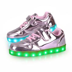 Rosa Zapatillas LED Y Cordones Niña