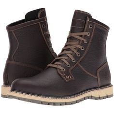 Timberland Britton Hill Waterproof Plain Toe Boot (Dark Brown Full... ($180) ❤ liked on Polyvore featuring men's fashion, men's shoes, men's boots, men's work boots, mens boots, mens ties, mens water proof boots, timberland mens work boots and timberland mens boots