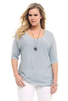 Silver Lurex Scoop Dolman Sweater Torrid PL. $44.50