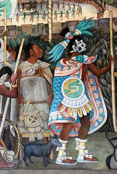Aztec pochteca (warrior-merchants) enter a Totonac city.  From a mural by Diego Rivera.