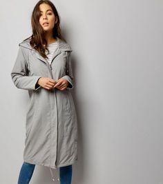 Grey Drawstring Hooded Duster Coat
