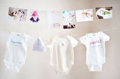 #2 Hang photos and outgrown clothes from baby's first year ~Baby's First Birthday: Creative and Fun Ways to Make it Special