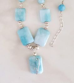 Larimar Beaded Necklace, Sterling Silver Necklace, Larimar Wire Wrapped Pendant Necklace, Made in America Necklace, Al's Jewelry Designs by AlsJewelryDesigns on Etsy