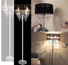 H170CM New Elegant Lampshade Crystal Floor Lamp Light Lighting Black White  | EBay