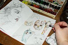 Tiermotive von rauschsinnig Ich wünschte ich könnte auch mal die Schwerelosigkeit erleben. Es muss wirklich aufregend sein. . . . #sketchbook #skizzenbuch #zeichnen #kinderbuchillustration #illustrationfürkinder #hunde #zeichnung #skizzen #tiere
