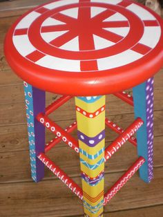 Whimsical Furniture  Hand Painted Stool  Bright by FolkArtDreams,