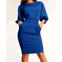 Simple Round Neck 3/4 Sleeve Solid Color Pocket Design Women's Dress