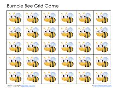 Bumble Bee Grid Game >> use as preschool cutting practice Bee Games, Grid Game, Bee Free, Cute Bee, Bee Crafts, Preschool Themes, Bugs And Insects, Bee Happy, Bees Knees