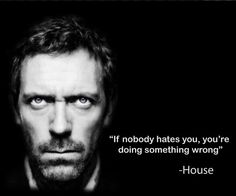 """And I know I'm doing a lot of things right ;) """"If nobody hates You ... ... You're doing something wrong"""" ~ Dr. House"""