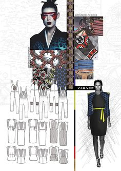 Fashion Portfolio - samurai armour-inspired fashion design; fashion drawings; fashion sketchbook // Hannah Mitcheson