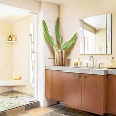 "OOOH - THE SHOWER!  ""Bringing Nature In  Inspired by breathtaking forest scenery outside this Pacific Northwest-region home, this master bath uses a variety of natural limestones and cherry wood -- all with low-luster finishes -- to capture the essence of the outdoors."""