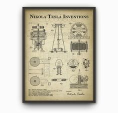 Tesla Inventions Wall Art Poster - Nikola Tesla Patent Wall Art - Engineer Science Poster Christmas Gift Idea - Vintage Science Wall Art This poster is created from original Nikola Tesla patents and printed using high quality archival inks on heavy-weight Nikola Tesla Patents, Nikola Tesla Inventions, Science Bedroom, Ski Decor, Engineering Science, Musician Gifts, Office Wall Decor, Patent Prints, Science For Kids