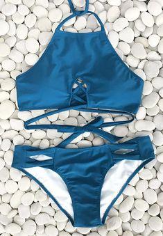 Cupshe Blue Sea Halter Bikini Set