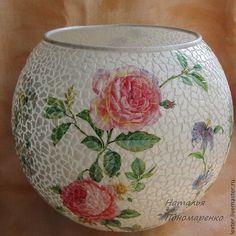 Купить Вазы ручной работы. Стеклянная ваза Розовый сад - розовый, розы, гортензии, вьюнок